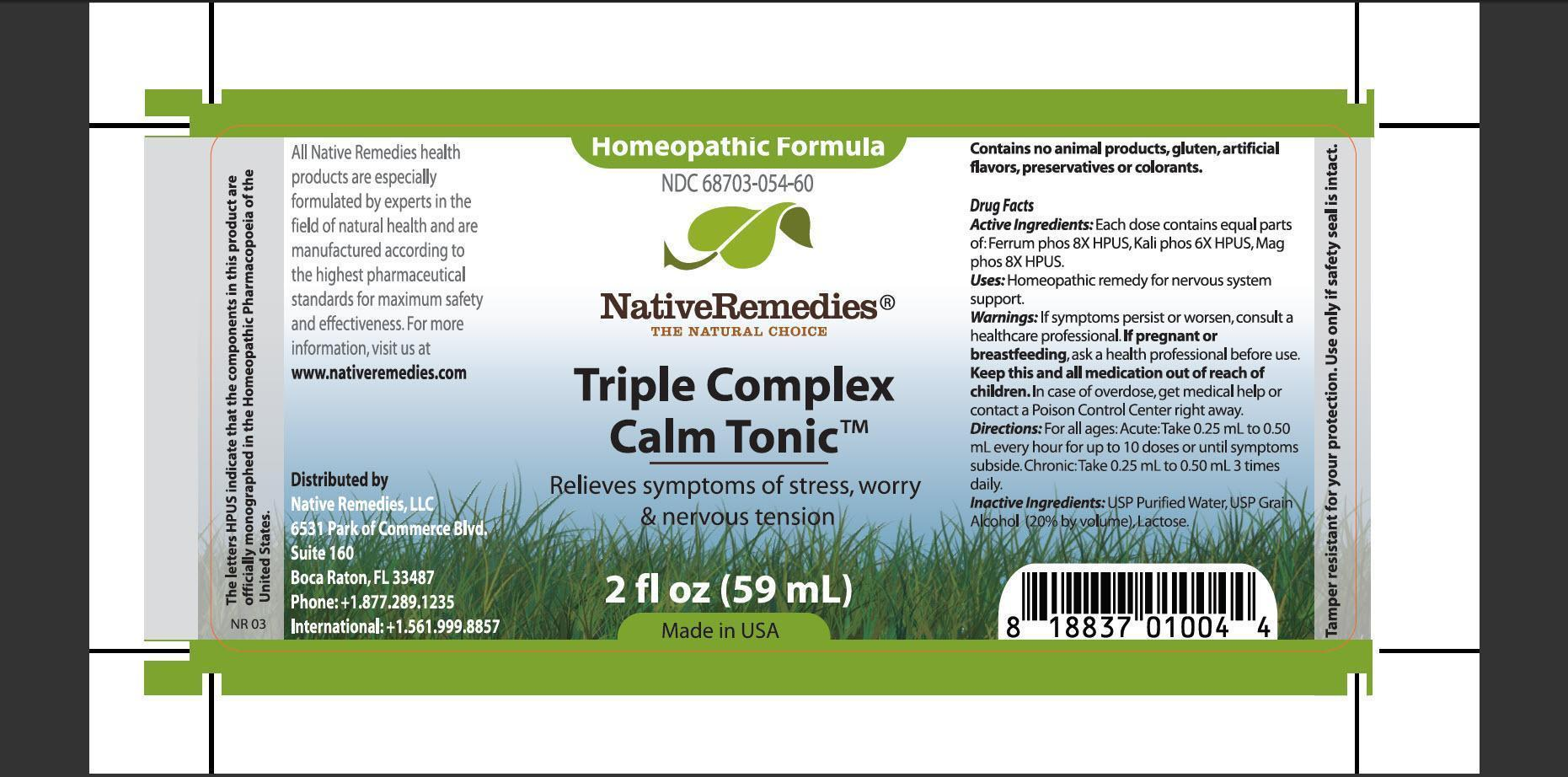 Triple Complex Calm Tonic (Ferrum Phos, Kali Phos, Mag Phos) Tincture [Native Remedies, Llc]