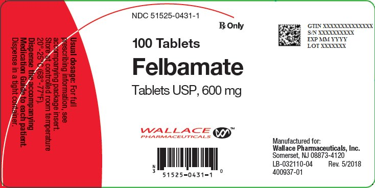 Felbamate 600 mg Tablets Bottle Label