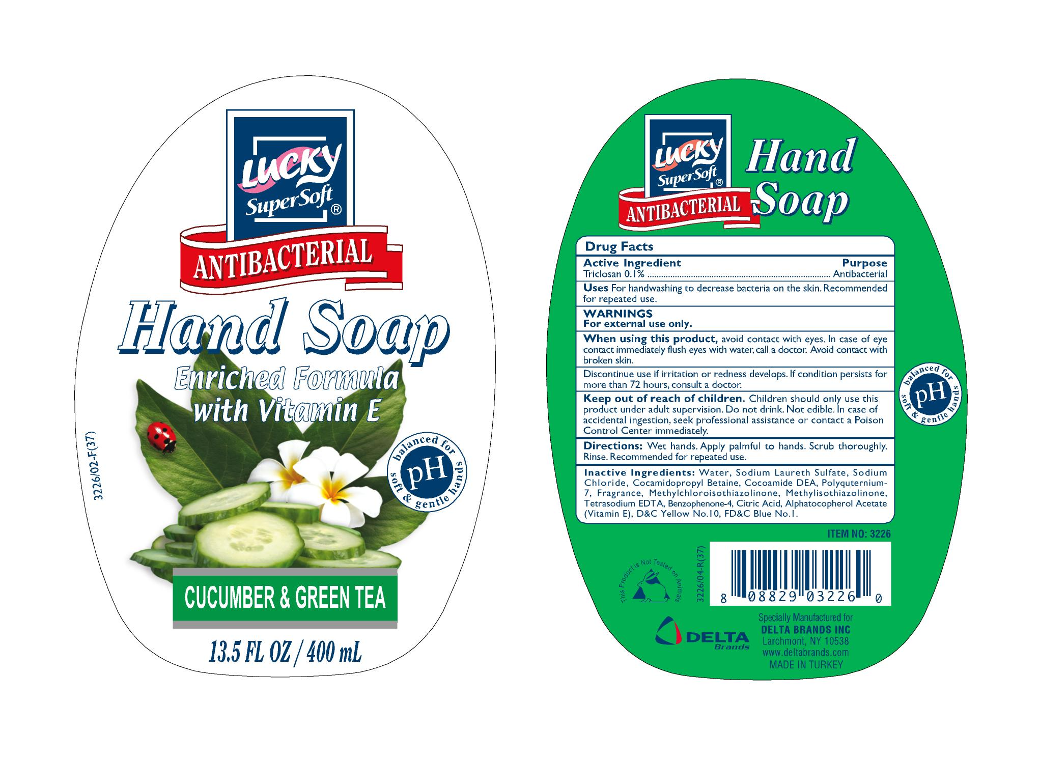Lucky Antibacterial Hand Soap Supersoft (Triclosan) Liquid [Delta Brands Inc]