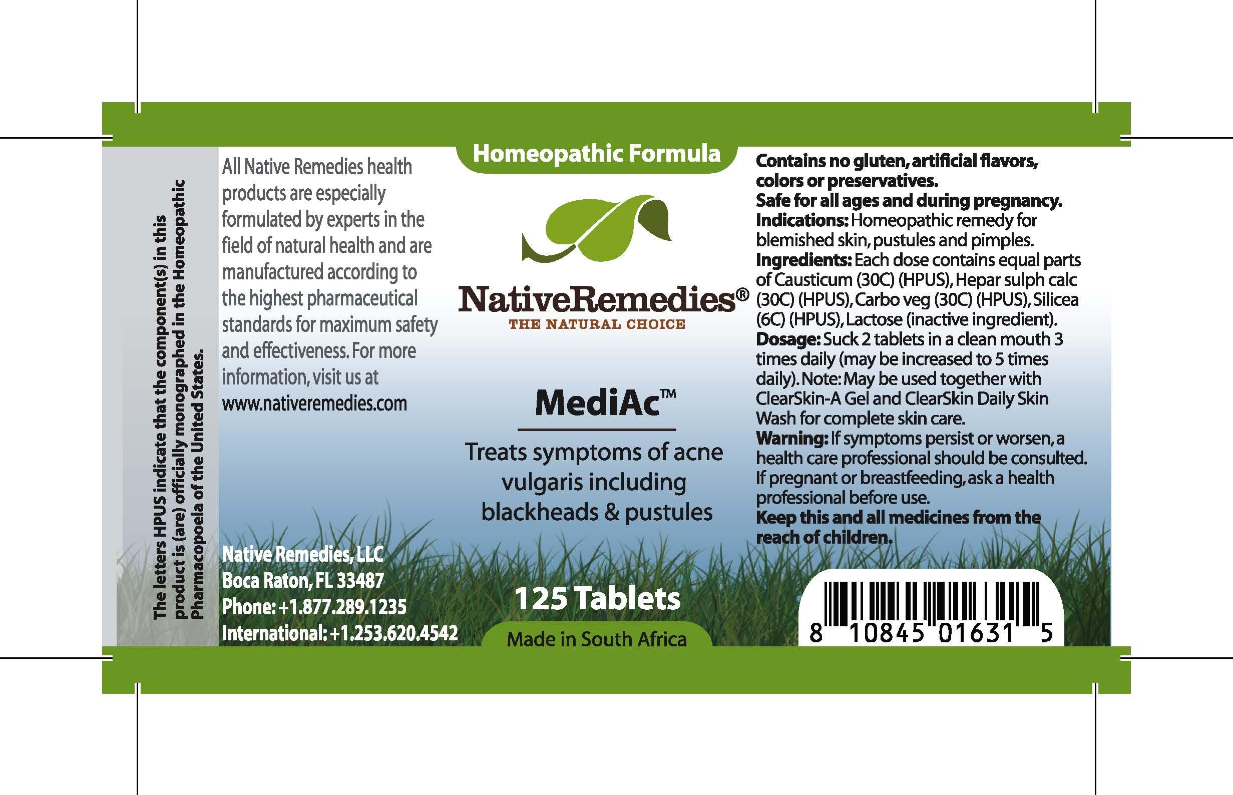 Mediac (Causticum , Hepar Sulph Calc , Carbo Veg , Silicea, Lactose .) Tablet [Feelgood Health]