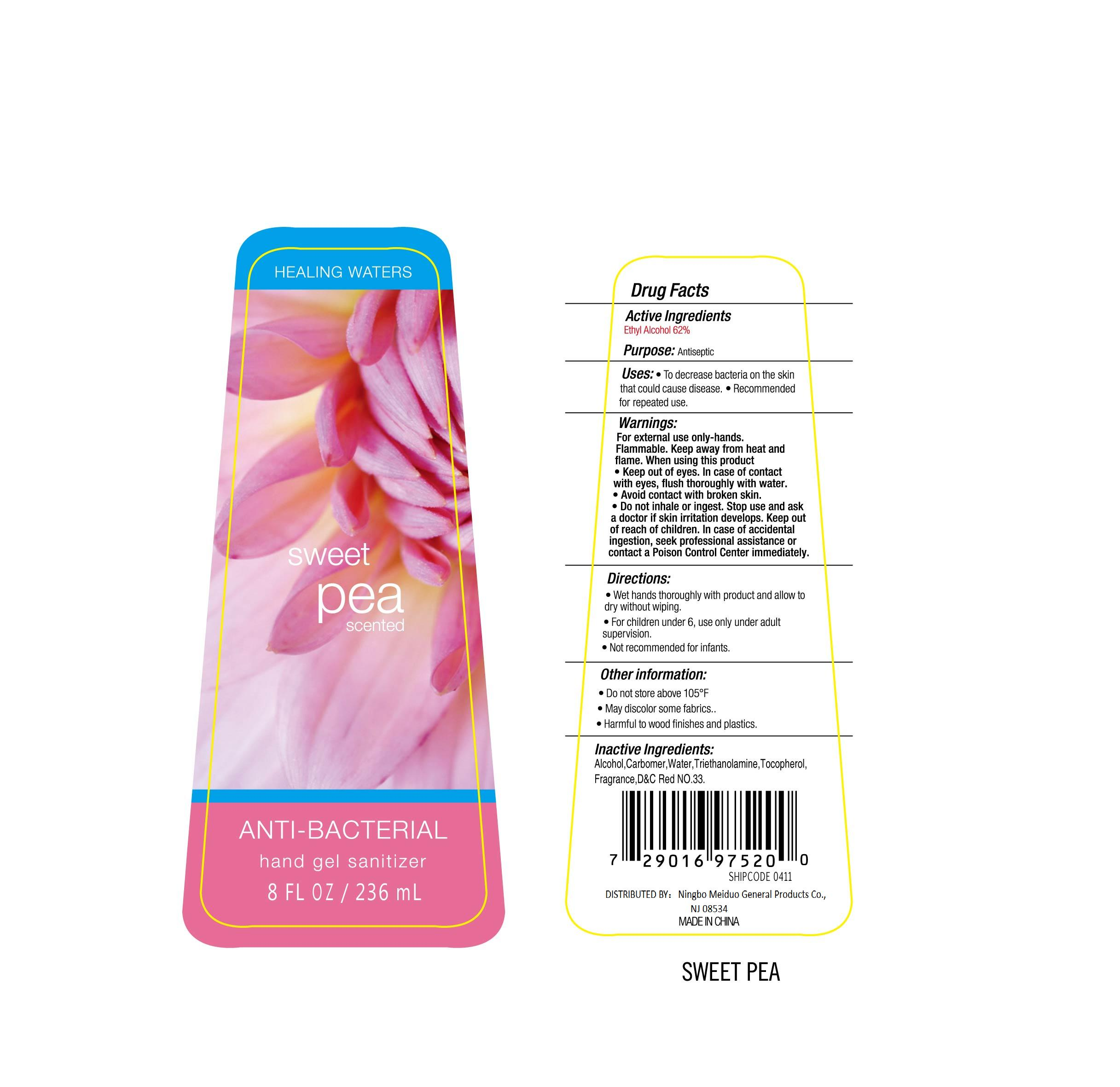 Healing Waters Sweet Pea Scented Anti-bacterial Hand Sanitizer (Alcohol) Gel [Ningbo Meiduo General Products Co., Ltd]