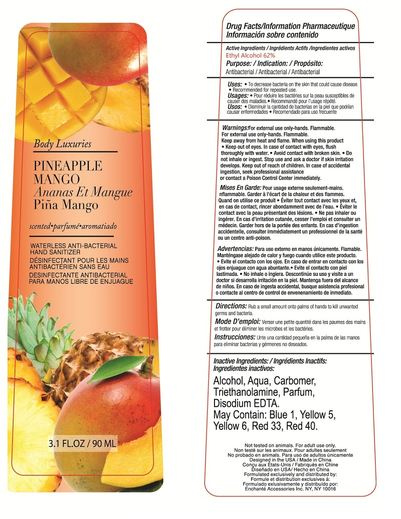 Body Luxuries Pineapple Mango Waterless Anti-bacterial Hand Sanitizer (Alcohol) Liquid [Enchante Accessories Inc. ]