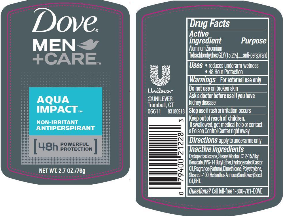 Dove Men Plus Care Aqua Impact Antiperspirant And Deodorant (Aluminum Zirconium Tetrachlorohydrex Gly) Stick [Conopco Inc. D/b/a Unilever]