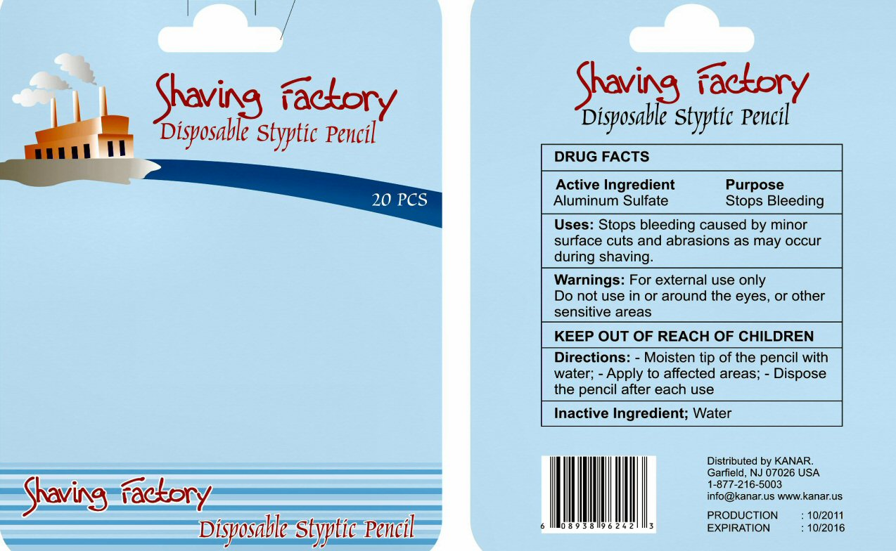 KANAR Shaving Factory Label
