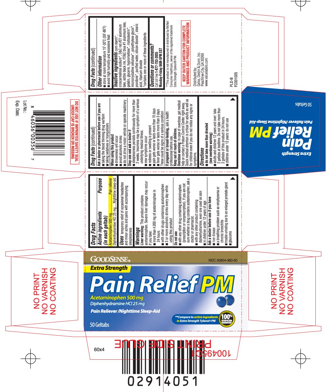 Pain Relief Pm Extra Strength (Acetaminophen, Diphenhydramine Hcl) Tablet, Coated [Geiss, Destin & Dunn, Inc (Goodsense)]