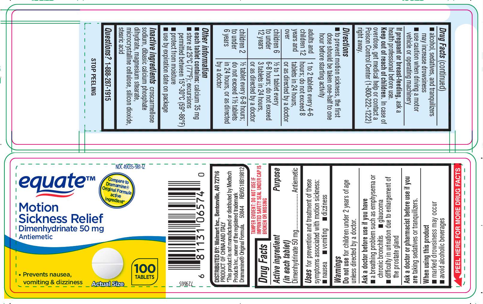 Motion Sickness Relief (Dimenhydrinate) Tablet [Wal-mart Stores Inc]