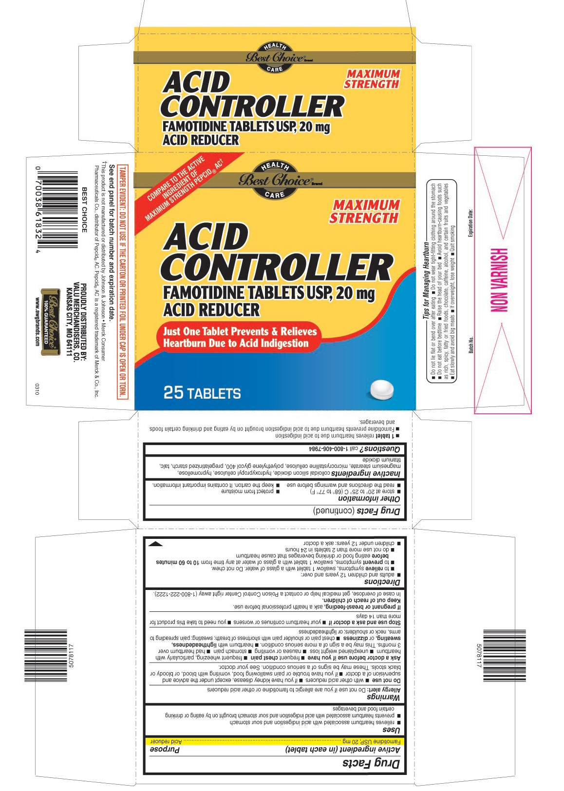 This is the 25 count bottle carton label for Best Choice Famotidine tablets USP,  20 mg.
