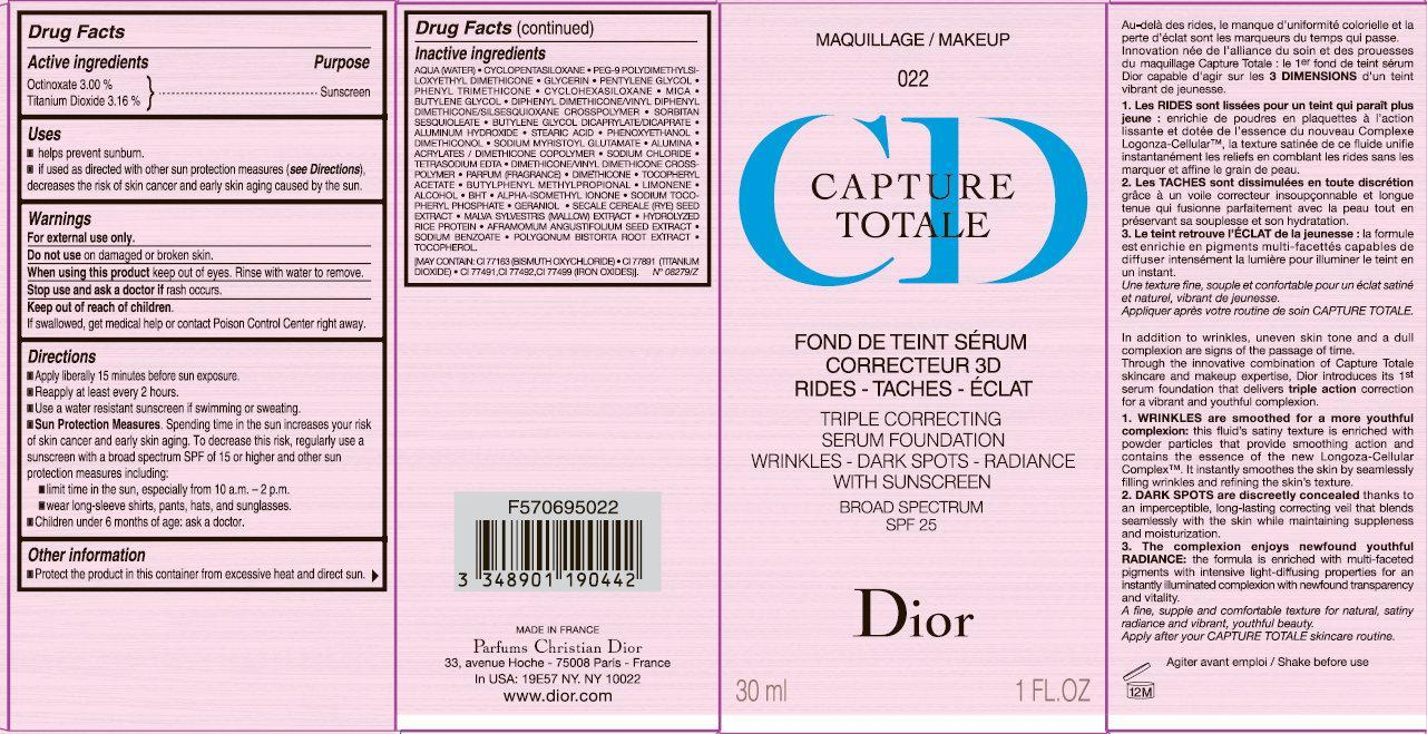 Cd Capture Totale Triple Correcting Serum Foundation Wrinkles-dark Spots-radiance With Sunscreen Broad Spectrum Spf 25 022 (Octinoxate, Titanium Dioxide) Cream [Parfums Christian Dior]