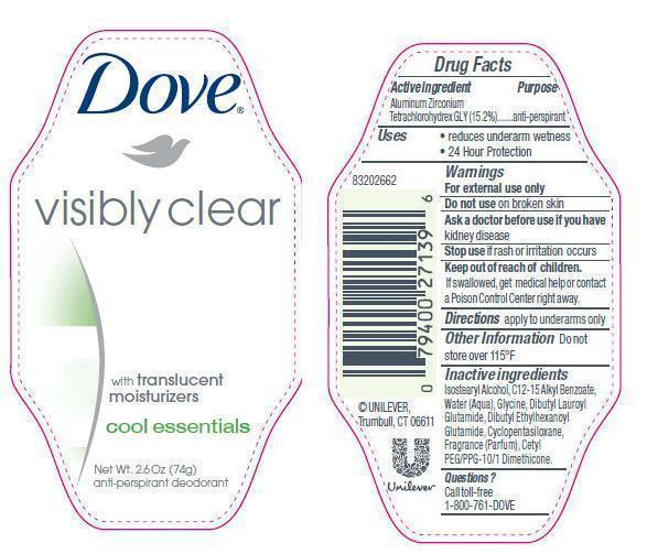 Dove Visibly Clear Cool Essentials Antiperspirant And Deodorant (Aluminum Zirconium Tetrachlorohydrex Gly) Stick [Conopco Inc. D/b/a Unilever]