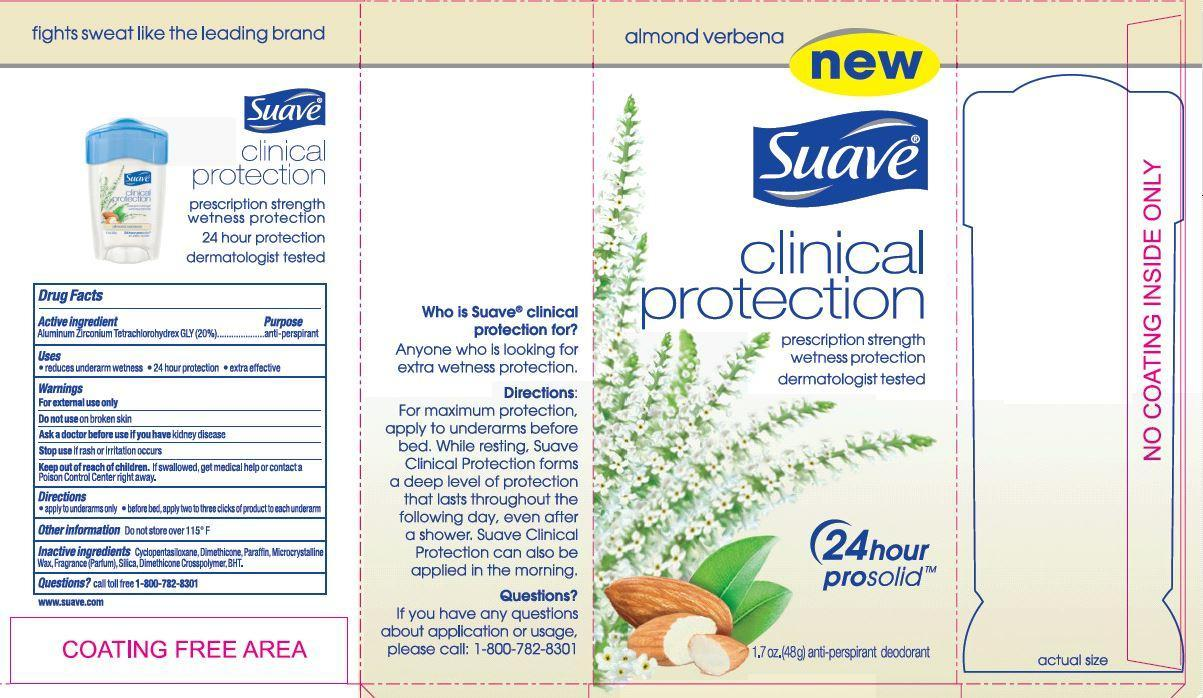 Suave Clinical Protection Almond Verbena (Aluminum Zirconium Tetrachlorohydrex Gly) Stick [Conopco Inc. D/b/a Unilever]