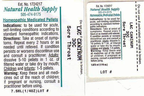 Sore Throat (Canis Lupus Familiaris Milk) Pellet [Natural Health Supply]