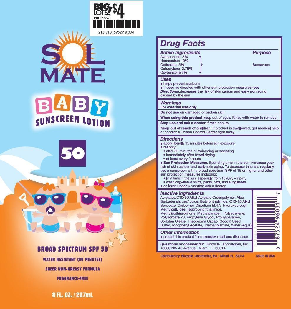 Solmate Baby Broad Spectrum Spf50 (Avobenzone, Homosalate, Octisalate, Octocrylene, And Oxybenzone) Lotion [Prime Enterprises, Inc.]