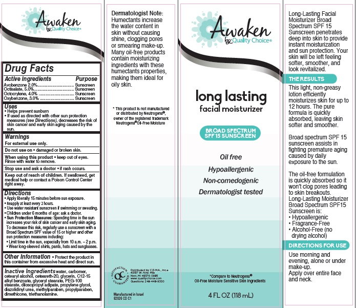 Awaken By Quality Choice Long-lasting Oil-free Moisturizer Broad Spectrum Spf 15 (Avobenzone, Octisalate, Octocrylene And Oxybenzone) Cream [Chain Drug Marketing Association]