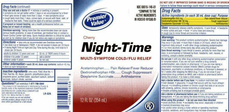 Night-time Cherry Multi-symptom Cold/flu Relief (Acetaminophen, Dextromethorphan Hydrobromide, Doxylamine Succinate) Liquid [Chain Drug Consortium, Llc]
