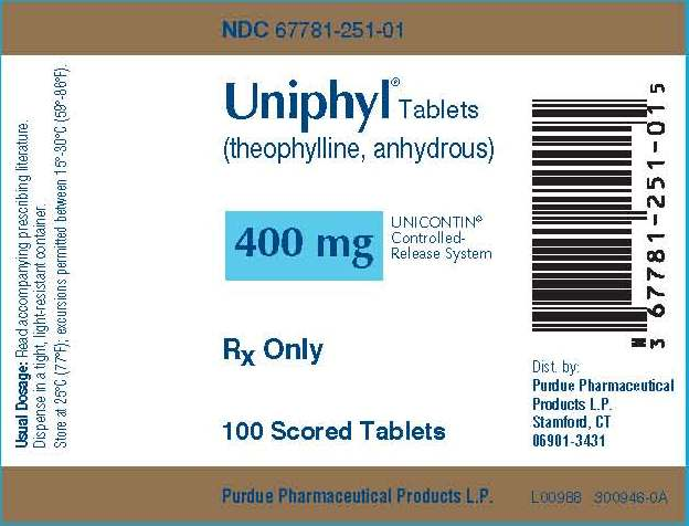 Uniphyl Tablets 400 mg Tablets NDC 677781-251-01
