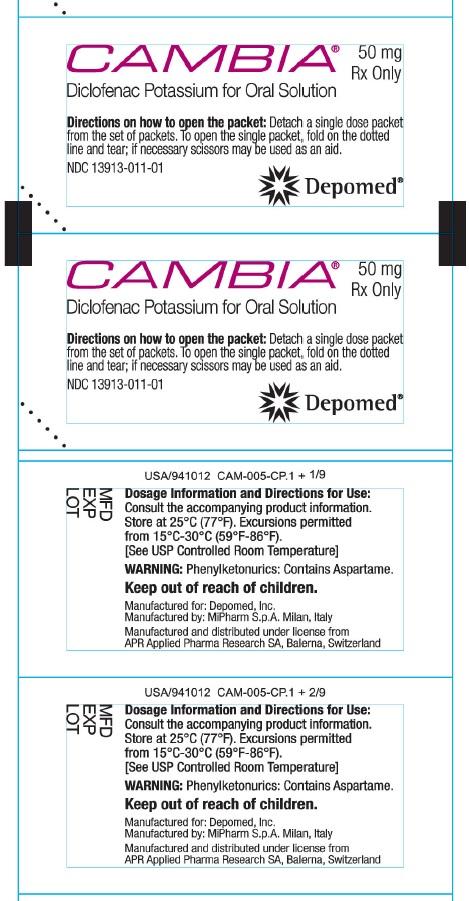 Cambia (Diclofenac Potassium For Oral Solution) (Diclofenac Potassium) Powder, For Solution [Depomed, Inc.]
