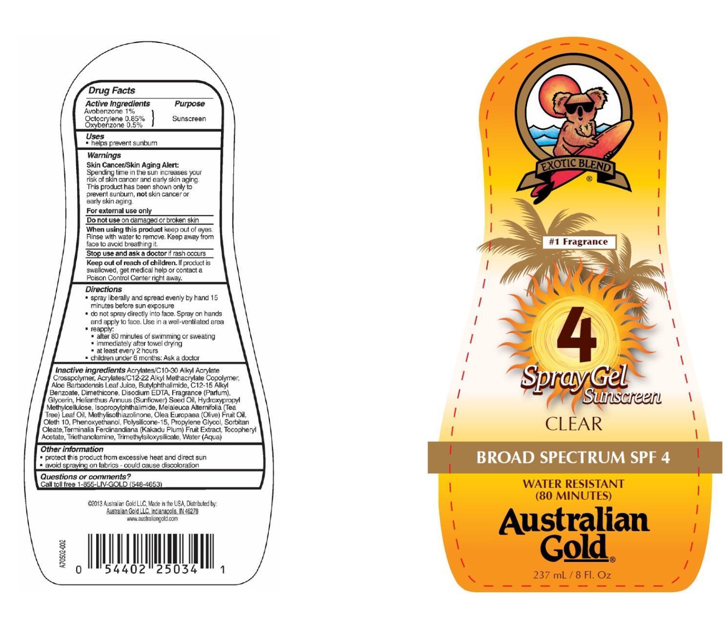 Australian Gold Broad Spectrum Spf 4 (Avobenzone, Octocrylene And Oxybenzone) Gel [Prime Enterprises, Inc.]