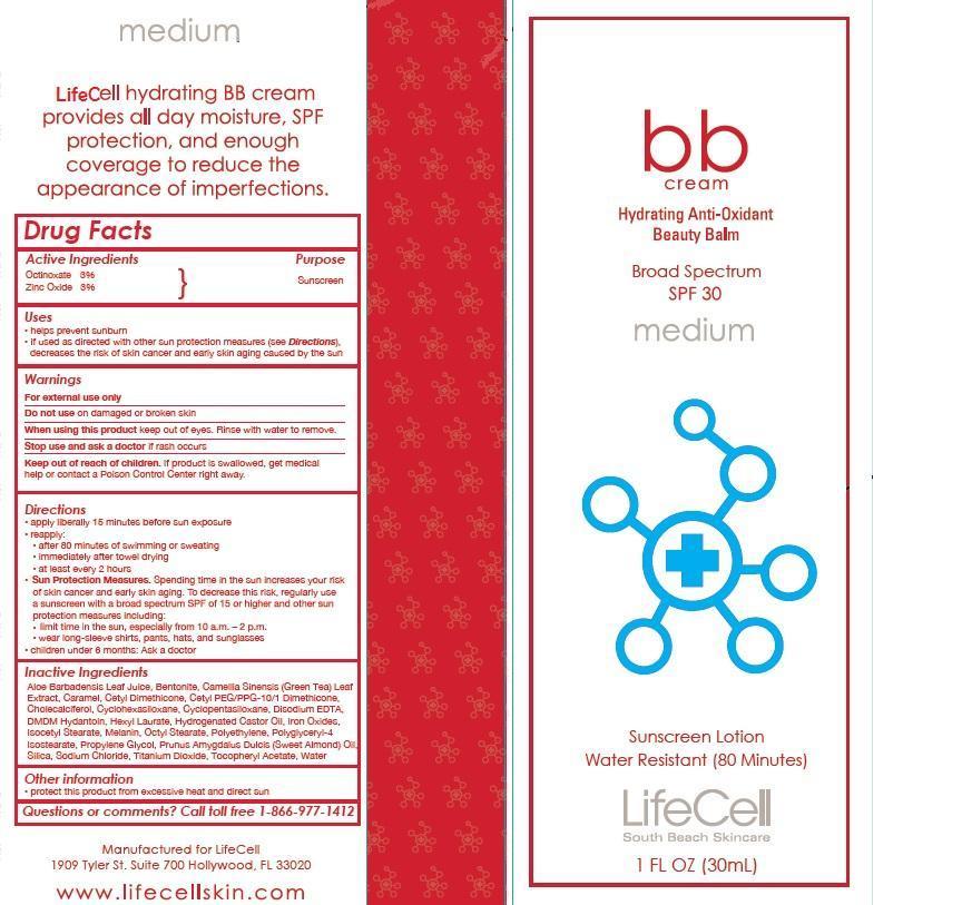 Lifecell Bb Cream Hydrating Anti-oxidant Beauty Balm Broad Spectrum Spf 30 Medium (Octinoxate And Zinc Oxide) Lotion [Prime Enterprises, Inc.]