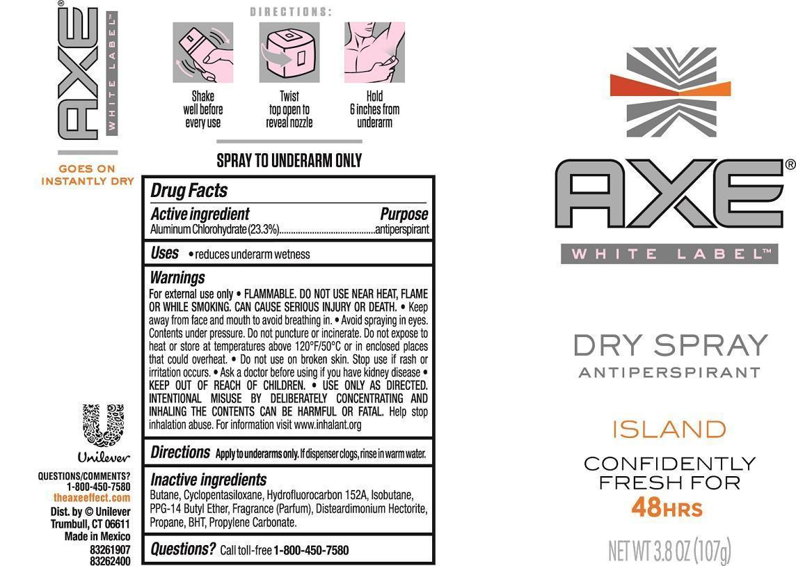 Axe Island Antiperspirant (Aluminum Chlorohydrate) Aerosol, Spray [Conopco Inc. D/b/a Unilever]