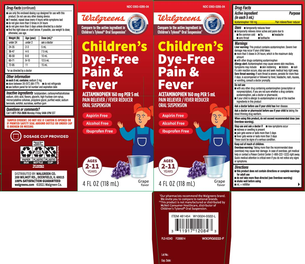 Dye Free Pain And Fever Childrens (Acetaminophen) Suspension [Walgreens]