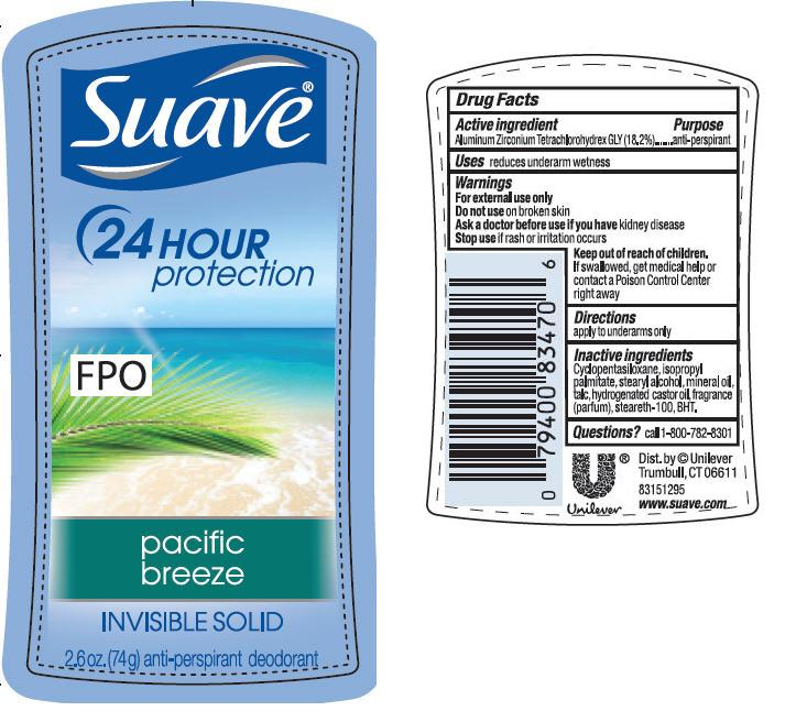 Suave Is Pacific Breeze Antiperspirant And Deodorant (Aluminum Zirconium Tetrachlorohydrex Gly) Stick [Conopco Inc. D/b/a Unilever]