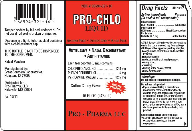 Pro-chlo (Chlophedianol Hydrochloride, Phenylephrine Hydrochloride, Pyrilamine Maleate) Liquid [Pro-pharma, Llc]