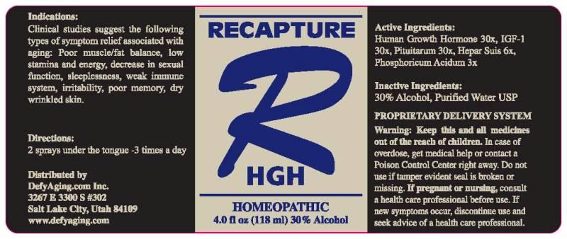Recapture Hgh (Phosphoricum Acidum, Heparus Suis, Hgh, Igf-1, Pituitarum (Suis)) Spray [Defyaging.com Inc.]