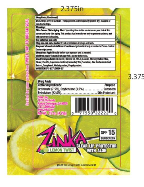 Zinka Lemon Twist Spf 15 Lip Balm (Oxybenzone, Octinoxate, Petrolatum) Stick [Zinka]