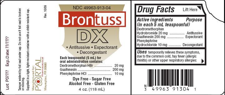 Brontuss Dx (Dextromethorphan Hydrobromide, Guaifenesin, Phenylephrine Hydrochloride) Liquid [Portal Inc.]