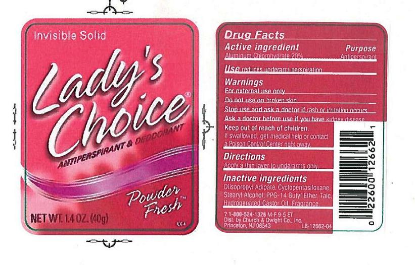 Ladys Choice Invisible Solid Antiperspirant Deodorant Powder Fresh (Aluminum Chlorohydrate) Stick [Church & Dwight Co., Inc.]