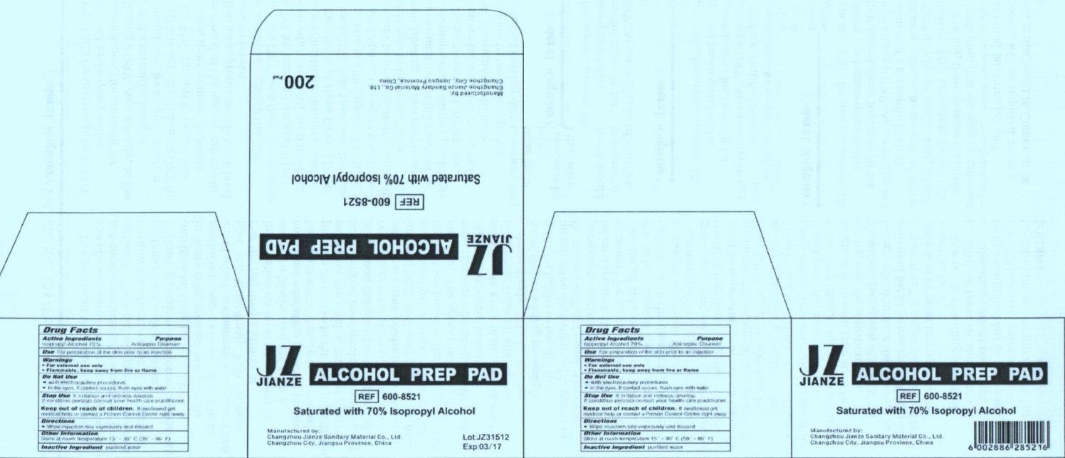 Jianze Alcohol Prep Pad Medium (Isopropyl Alcohol) Swab [Changzhou Jianze Sanitary Material Co., Ltd.]