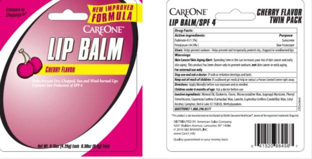Care One SPF 4 Lip Balm Card