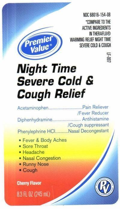 Night Time Severe Cold And Cough Relief (Acetaminophen, Diphenhydramine Hcl, Phenylephrine Hcl) Liquid [Chain Drug Consortium, Llc]