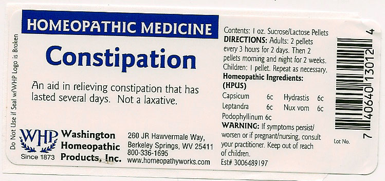 Constipation (Chili Pepper – Goldenseal – Culvers Root – Strychnos Nux-vomica Seed – Podophyllum Resin) Pellet [Washington Homeopathic Products]