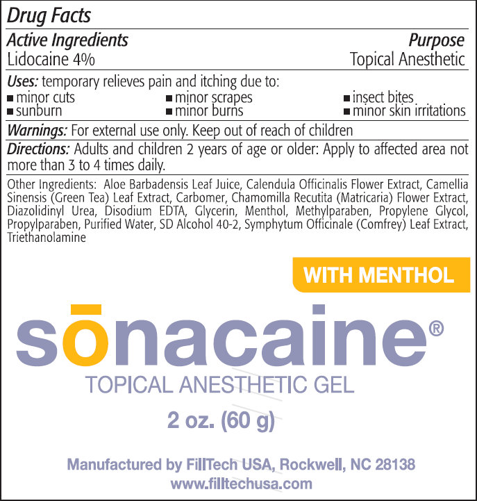 Sonacaine Topical Anesthetic With Menthol (Lidocaine) Gel [Filltech Usa, Llc]