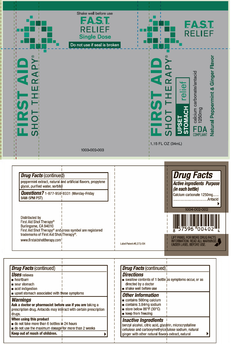 First Aid Shot Therapy Upset Stomach Relief (Calcium Carbonate) Solution [First Aid Beverages, Inc.]