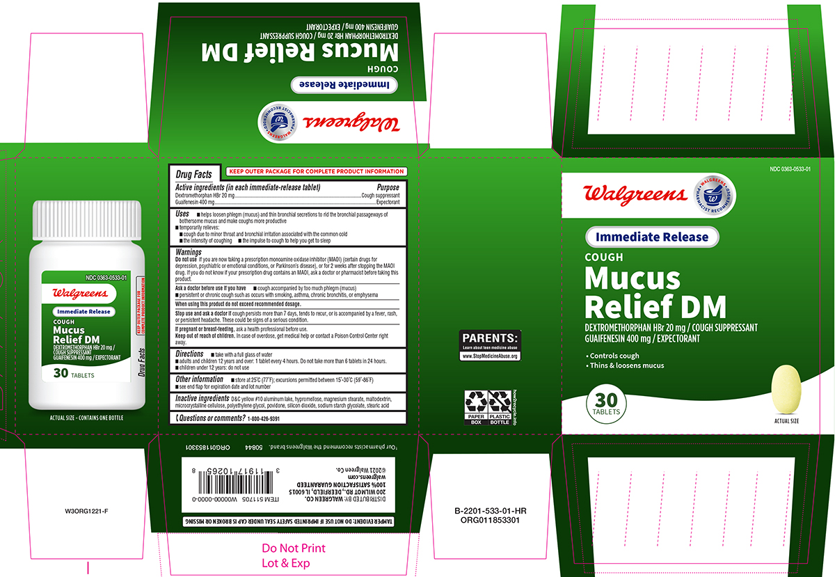 Mucus Relief Dm (Guaifenesin And Dextromethorphan Hbr) Tablet [Walgreen Co.]