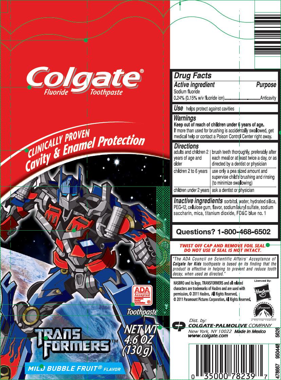 Colgate Junior Transformers (Sodium Fluoride) Paste, Dentifrice [Mission Hills, S.a. De C.v.]