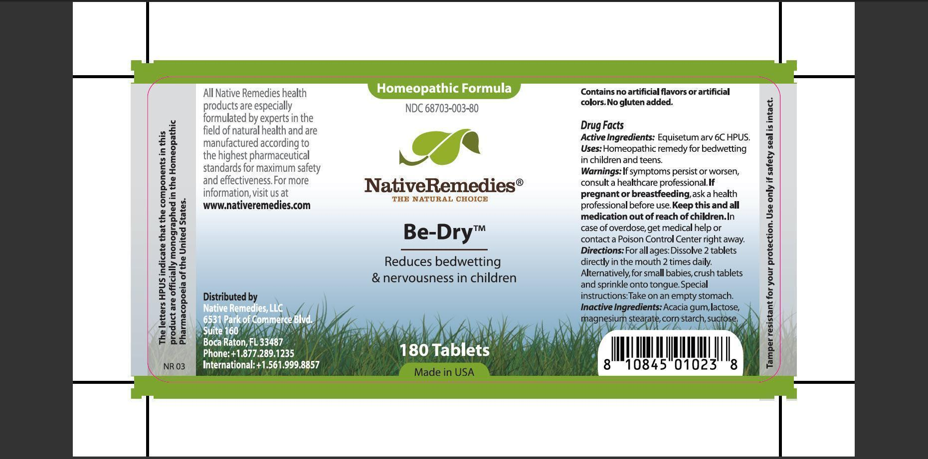 Be-dry (Equisetum Arv) Tablet [Native Remedies, Llc]