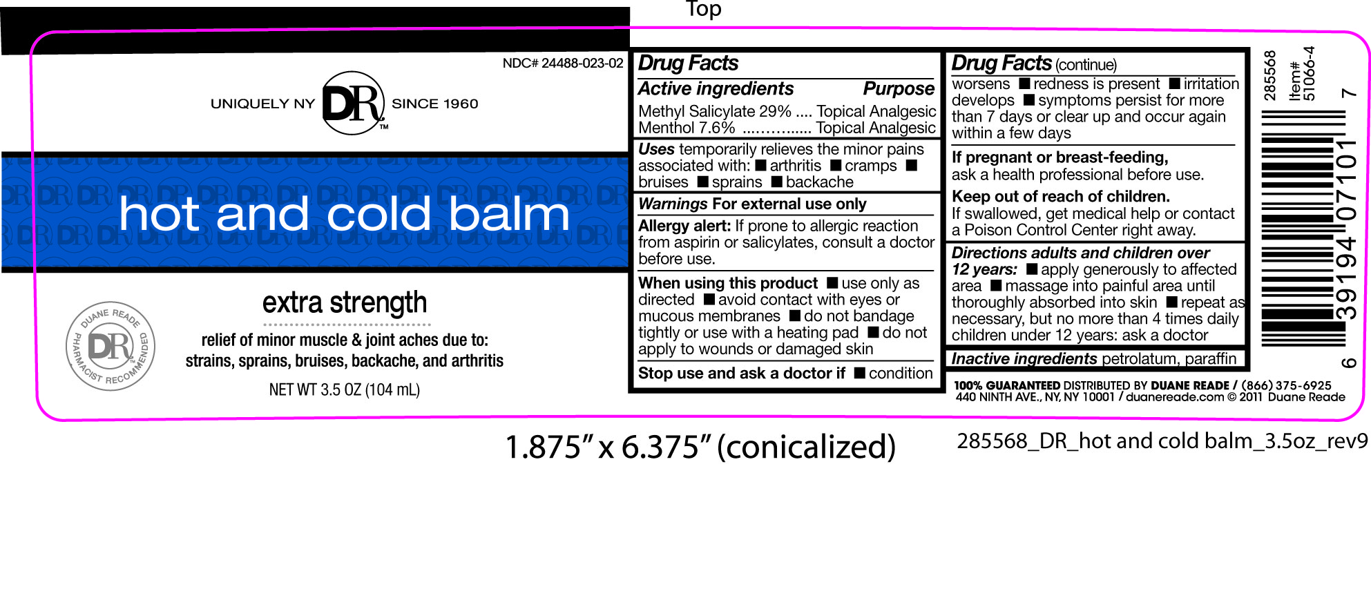 Duane Reade Hot And Cold Balm (Methyl Salicylate And Menthol) Salve [Duane Reade]