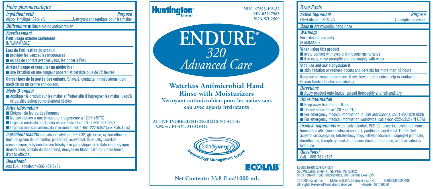Endure 320 Advanced Care Waterless Antimicrobial Hand Rinse With Moisturizers (Anitspetic Handwash) Solution [Ecolab Inc.]