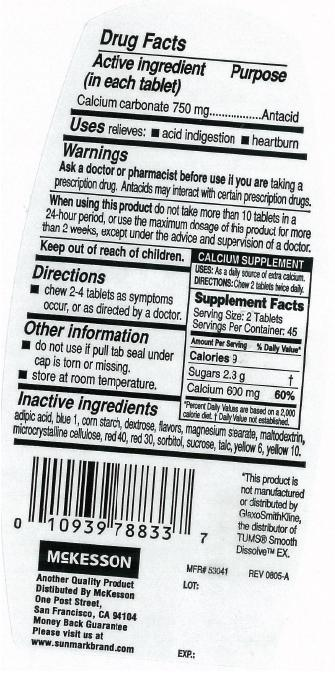 Sunmark Smooth Antacid (Calcium Carbonate) Tablet, Chewable [Mckesson]