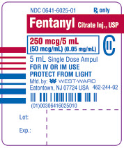 Fentanyl Citrate Injection, USP CII 250 mcg/5 mL (50 mcg/mL) (0.05 mg/mL) 5 mL Single Dose Ampul