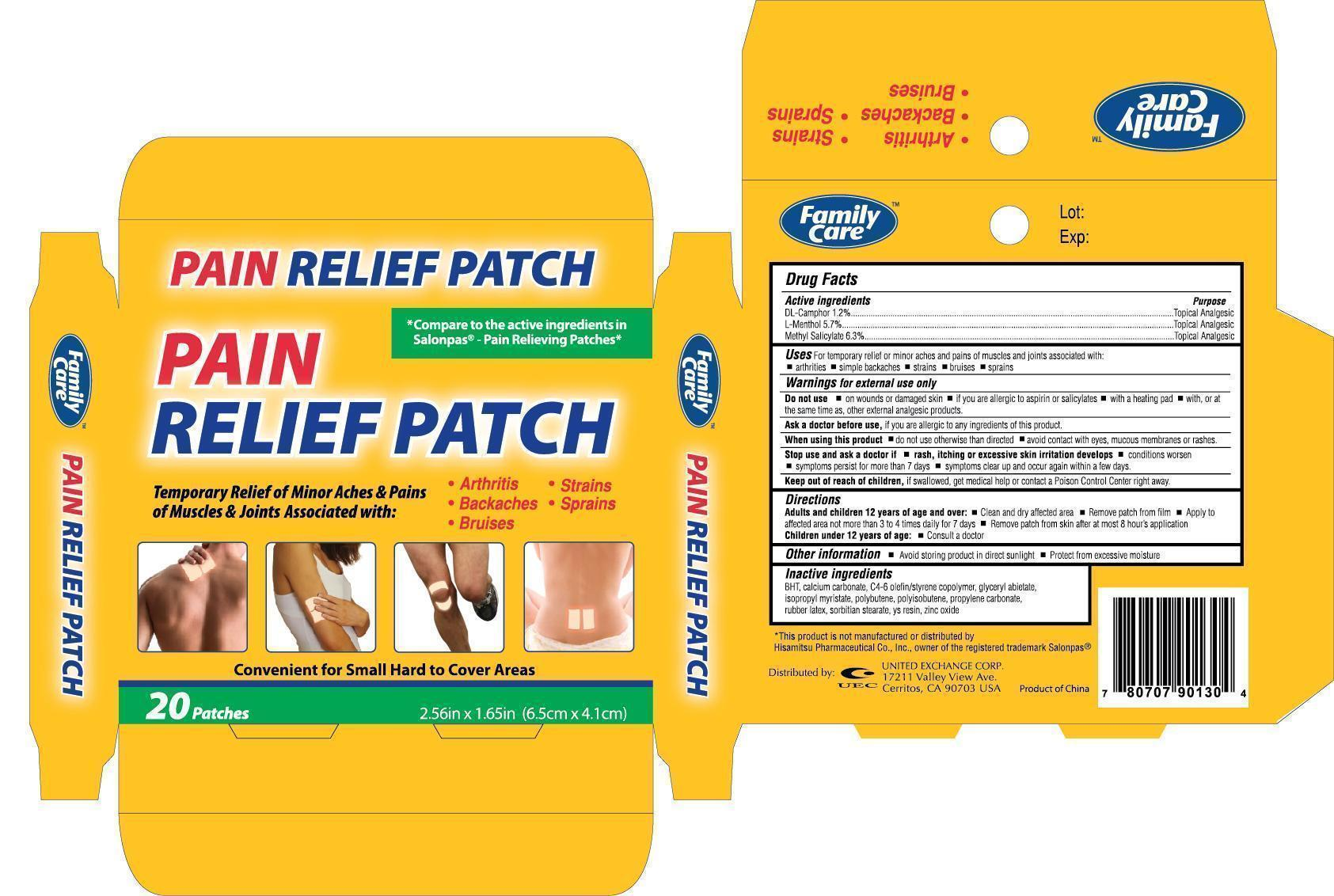 Family Care Pain Relief (Dl-camphor, L-menthol, Methylsalicylate) Patch [United Exchange Corp.]