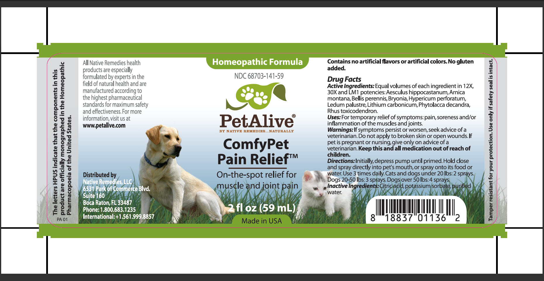 Comfypet Pain Relief (Aesculus Hippocastanum, Arnica Montana, Bellis Perennis, Bryonia, Hypericum Perforatum, Ledum Palustre, Lithium Carbonicum, Phytolacca Decandra, Rhus Toxicodendron) Spray [Native Remedies, Llc]