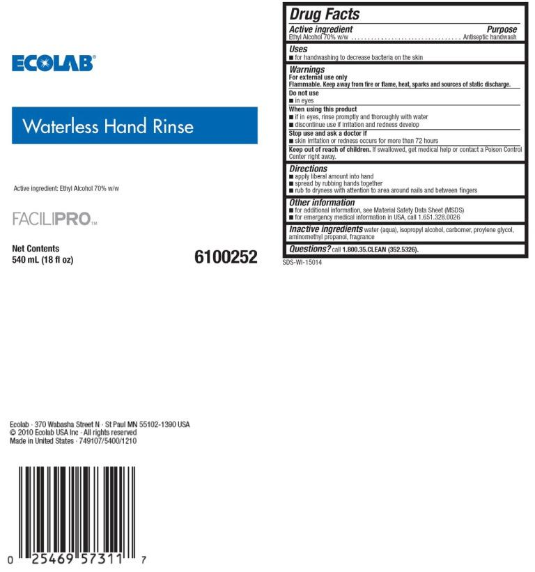 Facilipro Waterless Hand Rinse (Alcohol) Solution [Ecolab Inc.]