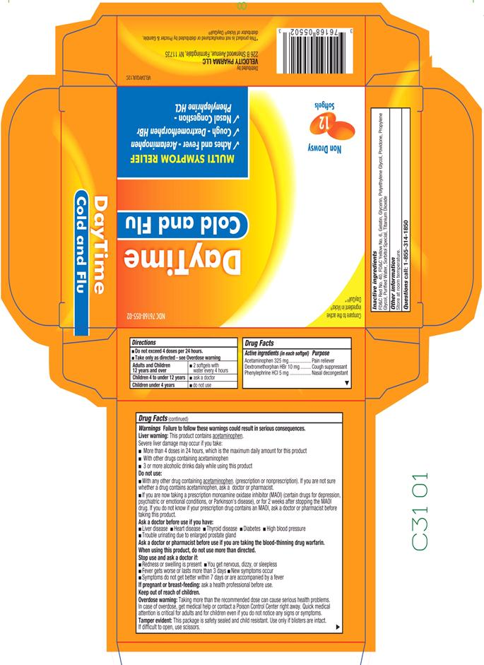 Daytime Cold And Flu (Acetaminophen,dextromethorphan,phenylephrine) Capsule, Liquid Filled [Velocity Pharma]
