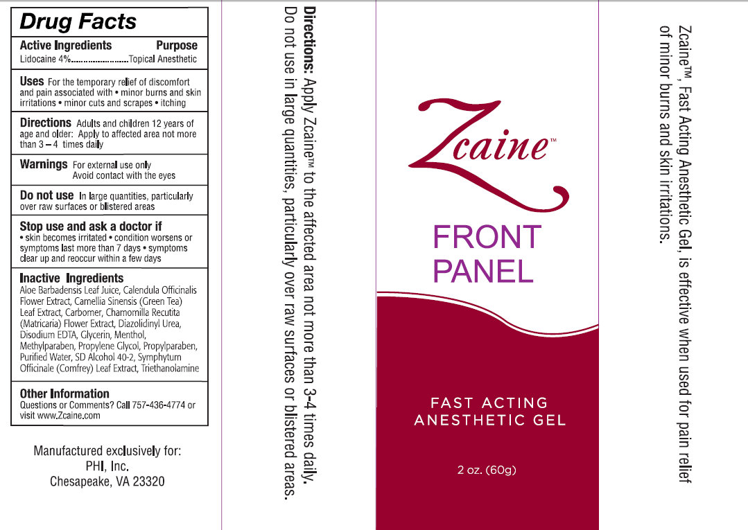 Zcaine Fast Acting Anesthetic (Lidocaine) Gel [Phi, Inc]
