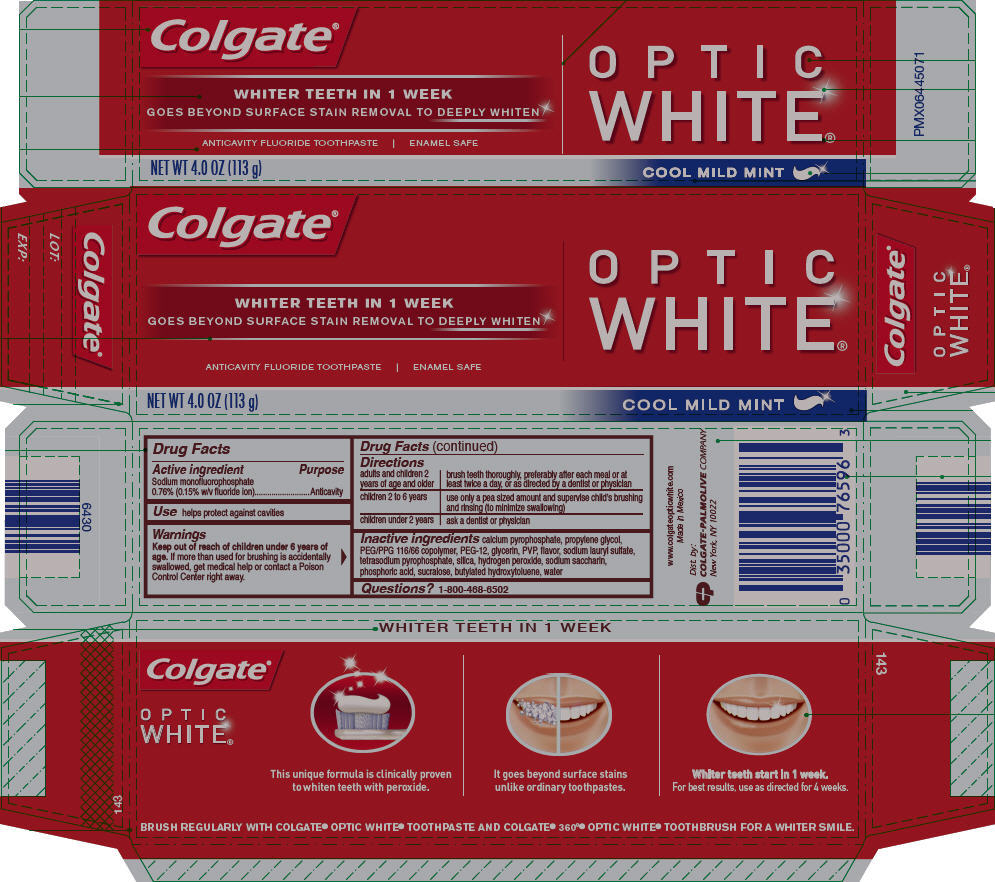 Colgate Optic White Cool Mild Mint (Sodium Monofluorophosphate) Paste, Dentifrice [Mission Hills S.a De C.v]