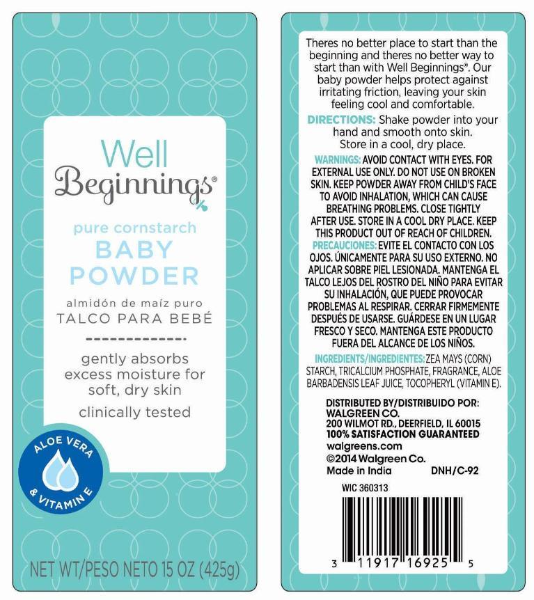 Pure Cornstarch Baby (Corn Starch) Powder [Walgreen Company]